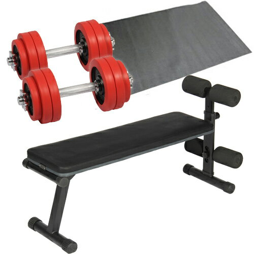 ダンベルトレーニング4点セット:レッド15kg フラットベンチ ラバーダンベル15kg 2個セ...