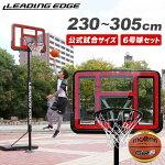 リーディングエッジバスケットボールゴールクリアボード6号球セットミニバス〜一般対応LE-BS305R-06set【バスケットゴール3on3屋外2.3m2.6m3m305cm】【espb】