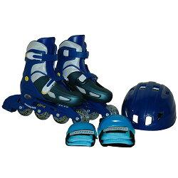 TOHOキッズインラインスケート4点セットプロテクター付きサイズ調節可能ブルーCA-475【ローラースケートインラインスケートアジャスター付プロテクター】
