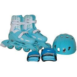 TOHOキッズインラインスケート4点セットプロテクター付きサイズ調節可能ライトブルーCA-475【ローラースケートインラインスケートアジャスター付プロテクター】