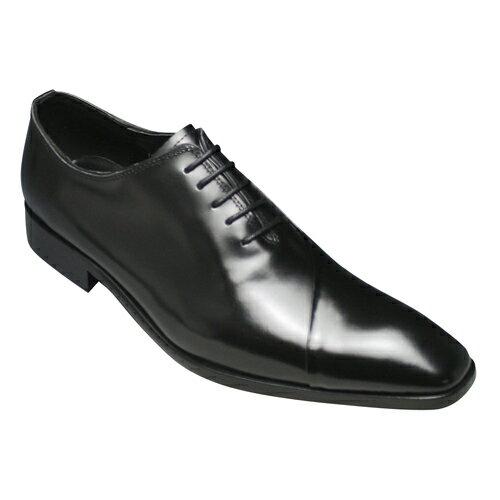 【ANTONIO DUCATI(アントニオ ドュカッティ)】本革底のロングノーズビジネスシューズ・5ホールのバルモラル(内羽根)DC8411(ブラック)/メンズ 靴画像