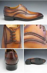 【MODELLO(モデーロ)】手縫いステッチを施した牛革ビジネスシューズ(スワールモカ)・DM5019(ライトブラウン)・3E