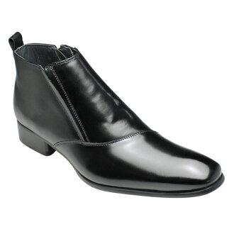 有機的なラインが魅力の牛革ブーツ(片側流れ)・SB7777(ブラック)