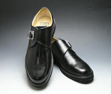 【WALKERS-MATE(ウォーカーズ・メイト)】牛革多機能コンフォートビジネスシューズ・サイドモンク(プレーントゥ)MW6600(ブラック)/メンズ 靴