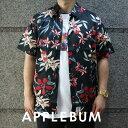 【14:00までのご注文で即日発送可能】 アップルバム APPLEBUM Island Flower S/S Shirt フラワー 花柄 半袖シャツ BLACK ブラック メンズ