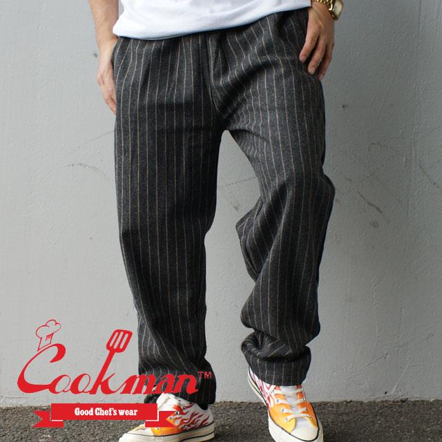 メンズファッション, ズボン・パンツ  Cookman Chef Pants Wool Mix Stripe GREY