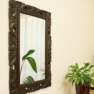 アジアンレリーフ ミラー 40×60 A 鏡 壁掛け ミラー アンティーク 木製 天然木 おしゃれ リゾート...