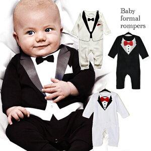 4色 選べる ロンパース ベビー 男の子 赤ちゃん 子供服 フォーマル タキシード 結婚式 お誕生日 バースデー お祝い 晴れ着 お宮参り