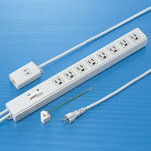 3P・8個口、手元/2P・1個口・3P→2P変換プラグ2mコード・抜け止め・手元集中スイッチ・マグネット付の電源タップ TAP-3812NFN サンワサプライ