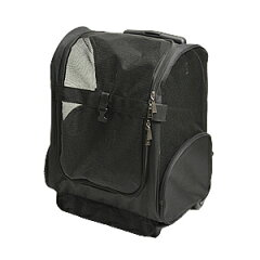ペットキャリーバック(黒)。小型犬用、キャリーカート、取っ手、背負いひも付き3Way