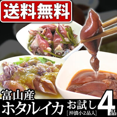 【送料無料】晩酌のお供に!ギフトに!富山名産ホタルイカの4種の味が味わえて、【無添加】でお...