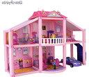 Abbyfrank 2階建てのおうち 人形の家 3D DIY 子供のためのパズル学習 人形アクセサリー ホーム ゲーム カーサデボネカ【送料無