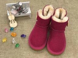 女の子男の子のブーツ冬暖かい足首キッズスノーブーツ子供暖かい靴_赤ボタンあり_17cm
