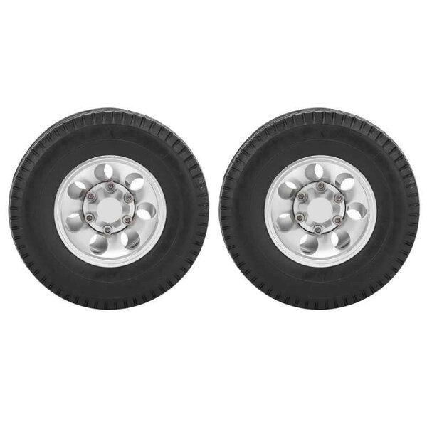 2個rcトレーラー後輪タイヤタミヤ1/14トラクタートラックrcクライマートレーラー部品