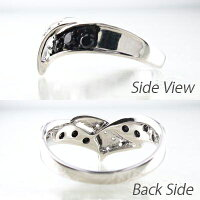 ダイヤモンドブラックダイヤモンドリングダイヤリングリボンウェーブコンビK18ホワイトゴールドK18WG指輪【送料無料】