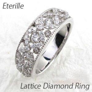 アンティーク ミル打ち 透かし 格子 ラティス 2段 重ね ダイヤモンド リング ダイヤリング K18 ホワイトゴールド K18WG 指輪 【コンビニ受取対応商品】:Eterille