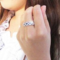 アンティークミル打ち透かし格子ラティス2段重ねダイヤモンドブラックダイヤモンドリングダイヤリングK18ホワイトゴールドK18WG指輪【送料無料】