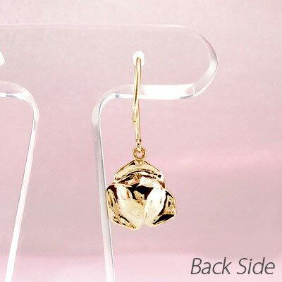 ダイヤモンド フックピアス 18k 揺れる レディース ダイヤ ローズ 薔薇 フラワー 花 一粒 ひと粒 ゆれる ブラ 18金 k18 ゴールド