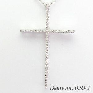 クロス 十字架 シンプル 大ぶり ダイヤモンド ネックレス ペンダント ダイヤペンダント 18金 K18 ホワイトゴールド K18WG 0.50ct 【コンビニ受取対応商品】:Eterille