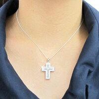 アンティークダブルゴージャスクロス十字架ダイヤモンドネックレスペンダントダイヤペンダントプラチナ900pt9000.70ct【送料無料】