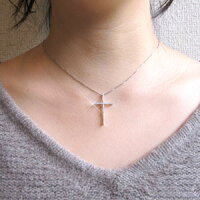 クロス十字架シンプルダイヤモンドネックレスペンダントダイヤペンダント18金K18ホワイトゴールドK18WG0.30ct【送料無料】05P28Mar14