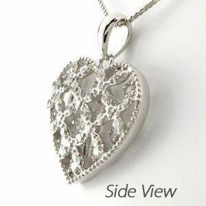 ハート ネックレス ダイヤ ペンダント レディース ダイヤモンド アンティーク 透かし 格子 重ね プラチナ pt900 0.5カラット