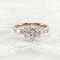 フラワー花セブンスターゴージャスダイヤモンドリングダイヤリング指輪18金K18ピンクゴールドK18PG0.70ct【送料無料】10P01Jun14