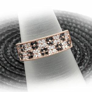 ブラックダイヤモンド リング 指輪 レディース パヴェ アンティーク ミル打ち フラワー 花 透かしk18 18k 18金 ゴールド