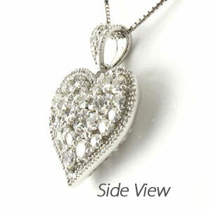 ハート ネックレス ダイヤ ペンダント レディース ダイヤモンド パヴェ アンティーク ゴージャス 透かし 重ね ゴールド k18 18k 18金