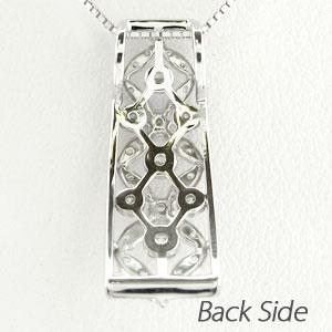 ダイヤモンド ネックレス 18k ペンダント レディース アンティーク 透かし 格子 重ね スクエア ゴールド k18 18金