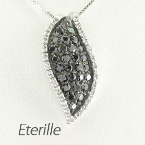 ブラックダイヤモンド ネックレス ペンダント レディース パヴェ リーフ 葉 木の葉 プラチナ pt900