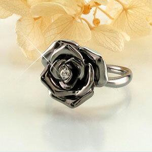 リング ダイヤモンド 指輪 レディース バラ 薔薇 ローズ フラワー 花 k18 18k 18金 ゴールド ブラックメッキ