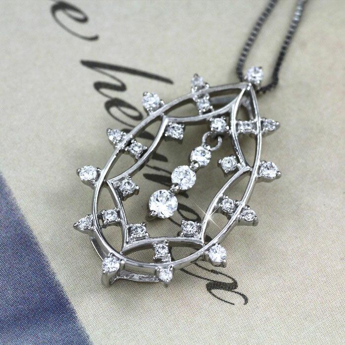 ダイヤモンド ネックレス ペンダント レディース アンティーク プラチナ ドロップ つゆ 透かし 揺れる ブラ ゴージャス pt900 0.5カラット