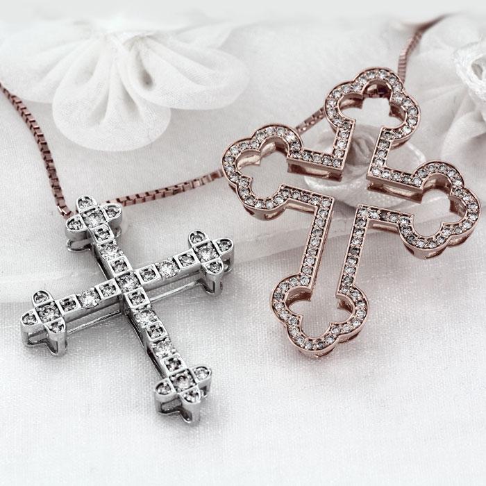 ネックレス メンズ クロス ダイヤモンド 18k ペンダント 2カラー コンビ ゴージャス アンティーク 十字架 ゴールド k18 18金 ゴールド k18 18金