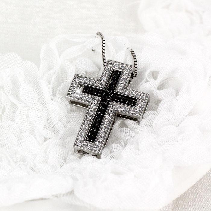 ブラックダイヤモンド ネックレス メンズ クロス 十字架 ゴールド k18 18k 18金