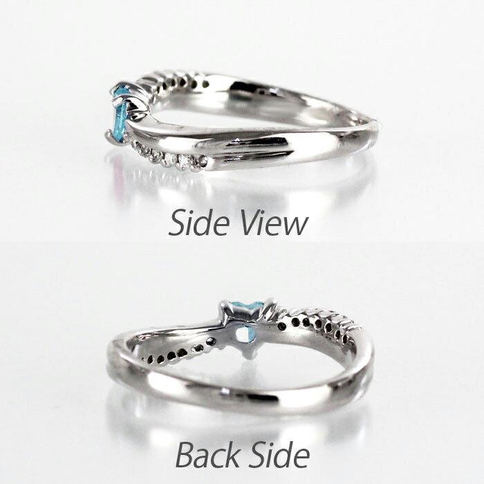 リング アクアマリン ダイヤモンド ハート カラーストーン ハートシェイプ プラチナ 900 指輪 誕生石 レディース 一粒 pt900