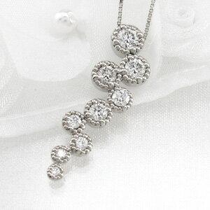 ダイヤモンド ネックレス ペンダント レディース アンティーク ミル しずく 0.5カラット プラチナ pt900