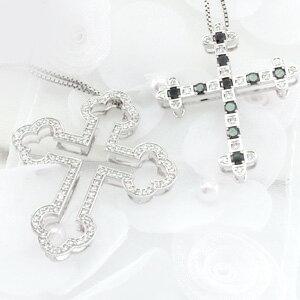 ブラックダイヤモンド ネックレス ペンダント レディース クロス 十字架 ゴージャス アンティーク 3ウェイ 3way プラチナ pt900