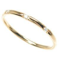 ダイヤモンドリングダイヤリングスリーストーンシンプルスレンダーアームK18PGピンクゴールド甲丸指輪重ねづけ【送料無料】