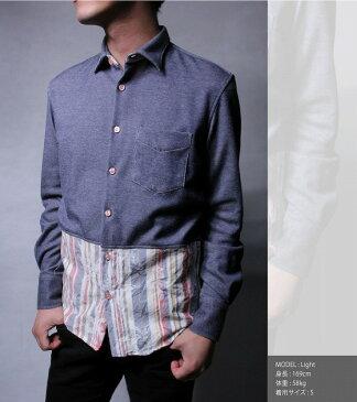 【ラスイチSALE】 cote mer コートメール バイカラーデニムシャツ INDIGO メンズ シャツ デニムシャツ バイカラー 花柄 フラワー柄 ストライプ柄