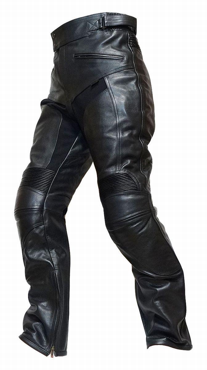 P08 本革 カウハイドレザーパンツ【牛革】ブーツアウト メンズ【Clooney】革パンツ バイク用