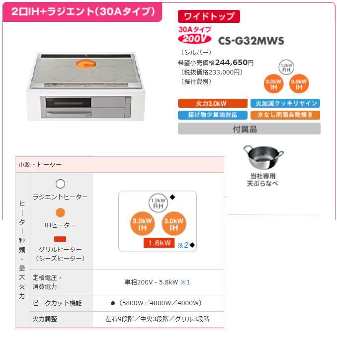 三菱 ビルトイン型 IHクッキングヒーターダブルIH Mシリーズ(75cmワイドトップ)CS-G32MWS:etile ショップ