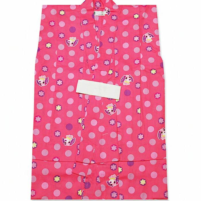 【お茶犬ocha-ken】子供浴衣 ピンクドット サイズ90・100・110・120【こどもゆかた・子供ゆかた・こども浴衣・子ども・女の子・おんなのこ】【あす楽対応_関東】