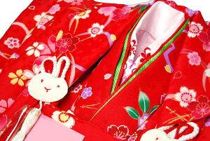 刺繍半衿・ウサギ飾がカワイイ!【肩・腰上げ加工サービス!】3歳用きもの 高級女児被布コート...