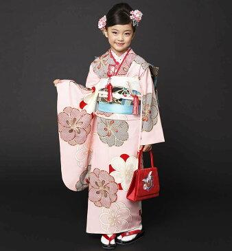 七五三 着物 7歳 紅一点 正絹 女の子 きもの単品 小紋 レトロ ブランド ピンク梅 四つ身