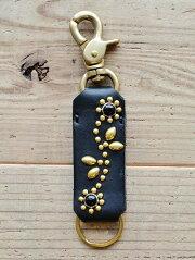 CROSSED ARROWS (クロッシード アローズ) ゴールド スタッズ メンズ キーホルダー 牛革 本革  日本製 ハンドメイト