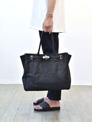 M.U.L Leather Black Tote Back Large 本革 牛革 レザーバッグ レザートートバッグ 姫路レザー 日本製 MADE IN JAPAN