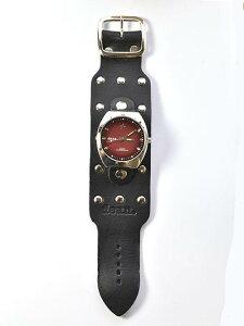 DEAN ディーン 別注 MW05本革 太ベルト 黒 文字盤 赤色 BLACK/ RED メンズ腕時計 レザーブレスレット タイプ