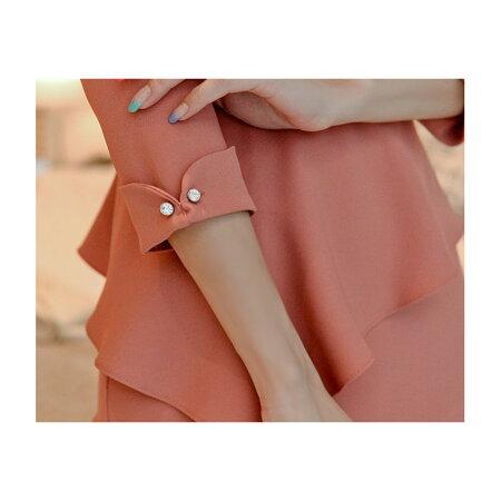 上品フリル使い膝丈七分袖しとやかワンピース_ピンク