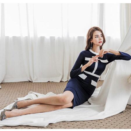 上品スーツタイプ膝丈長袖ワンピース_紺